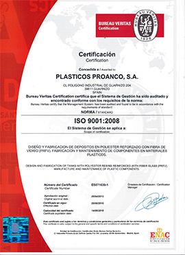Certificación ISO 901:2008 Plásticos Proanco